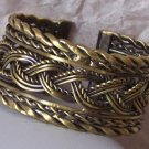 WIDE BURNISH GOLD P ANTIQUE STYLE BANGLE BRACELET