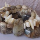 WESTERN CHUNKY NATURAL GEMSTONE BROWN WHITE BRACELET