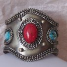 RED BLUE BURNISHED CUFF METAL BANGLE BRACELET