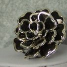 BLACK CHUNKY FLOWER FLORAL COCKTAIL RING