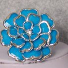 BLUE CHUNKY ADJUSTABLE FLOWER FLORAL COCKTAIL RING
