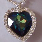 BLUE SAPPHIRE 100 SWAROVSKI CRYSTAL HEART LOVE NECKLACE