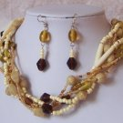BROWN OFF WHITE CREAM BEIGE MIX BEAD NECKLACE SET