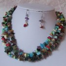 WESTERN SEMIPRECIOUS TURQUOISE MULTICOLOR NECKLACE SET