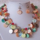 PEACH GREEN MULTICOLOR LAYERED SHELL NECKLACE SET