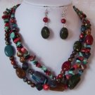 GREEN BLUE BROWN RED TURQUOISE WESTERN MIX NECKLACE SET