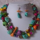 PINK GREEN BLUE MULTICOLOR TURQUOISE MIX NECKLACE SET