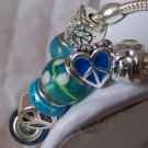 BLUE PEACE DOVE HEART LOVE GLASS LAMPWORK  BRACELET