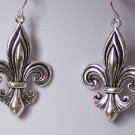 FRENCH FLEUR DE LIS FLOWER SILVER P EARRINGS