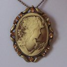 BROWN JEWELED LADY CAMEO NECKLACE