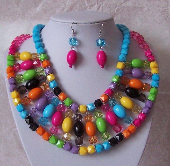 Blue Black Hot Pink Fuschia Multicolor Bib Necklace Set