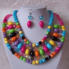 Blue Black Hot Pink Fuschia Multicolor Bib Necklace Set