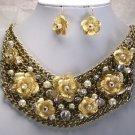 Antique Style Multichain Layered Flower Bib Necklace Set