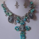 Blue Chunky Western Turquoise Cameo Cross Necklace Set