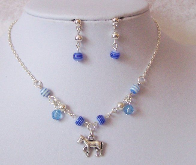 Kids Girls Children Western Horse Pony Blue Necklace Set