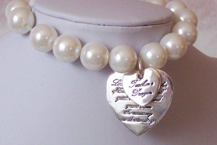 Inspirational Teachers Prayer Heart Love Faux Pearl Charm Bracelets
