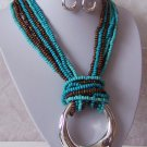 Turquoise Blue Brown Seed Bead Chunky Hoop Necklace Set