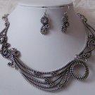 Gray Grey Antique Style Metal Art Necklace Set
