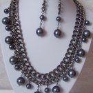 Gray Grey Faux Pearl Statement Multichain Necklace Set