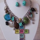 Chunky Crown Cross Western Turquoise Layered Necklace Set