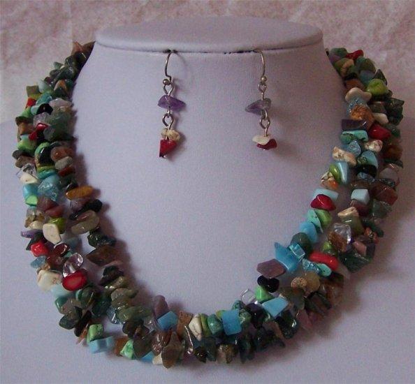 Black Brown Blue Turquoise Western Gemstone Necklace Set