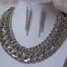 Chunky Silver P Multichain Statement Black Necklace Set