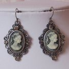Antique Style Victorian Look Gray Grey Black Lady Cameo Earrings
