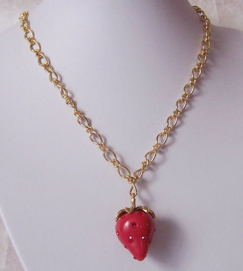 3D RED STRAWBERRY CRYSTAL NECKLACE