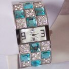Blue Rhinestone Clear Crystal Bangle Bracelet Wide Watch