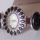 Black Southwestern South Western Bangle Bracelet Watch