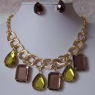 Green Brown Tear Drop Square Rhineston eNecklace Set