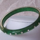 Green Clear Crystal Bangle Bracelet