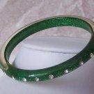 Green Clear Crystal Bangle Bracelet