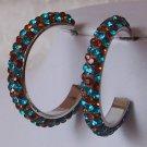 NEW BROWN BLUE ZIRCON SWAROVSKI CRYSTAL HOOP EARRINGS