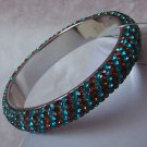 WESTERN BROWN BLUE SWAROVSKI CRYSTAL BANGLE BRACELET