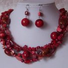 Red Western Natural Shell Turquoise Gemstone Ceramic Necklace Set