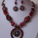 Red Gold P Patina Filigree Circle Necklace Set