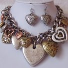Chunky Tritone Tri Tone Heart Valentines Day Necklace Set