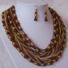 Brown Topaz Mustard Yellow Multistrand Glass Lampwork Necklace Set