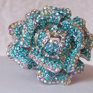 Chunky Blue Turquoise Flower Floral AB Crystal Cocktail Ring