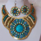 Blue Gold Sequin Bib Statement Necklace Set