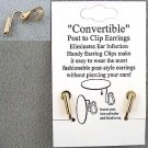 GOLD P CONVERT POST TO CLIP ON EARRINGS WITHOUT EAR PIERCE