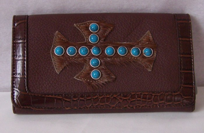 BROWN WESTERN TURQUOISE CROSS RELIGIOUS CHECKBOOK WALLET