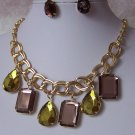 Brown Green Cabochon Gold Plated Necklace Set