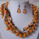 Orange Brown White Tigers Eye Natural Mixed Bead Necklace Set