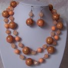 Orange Swirl Bead Necklace Set
