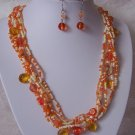 Orange White Mixed Glass Seed Bead Necklace Set