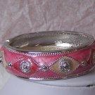 Pink White Silver Hinge Bangle Bracelet