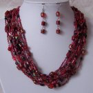 Red Black Glass Mixed Bead Multistrand Necklace Set