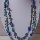 Blue Glass Gold Plated Multistrand Necklace Set